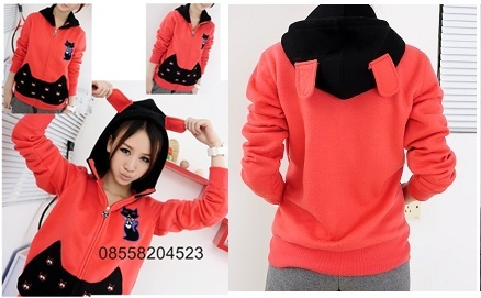 Red Cat Jacket Hoodie (Rp 140.000) | outfitorganizer.com 08558204523