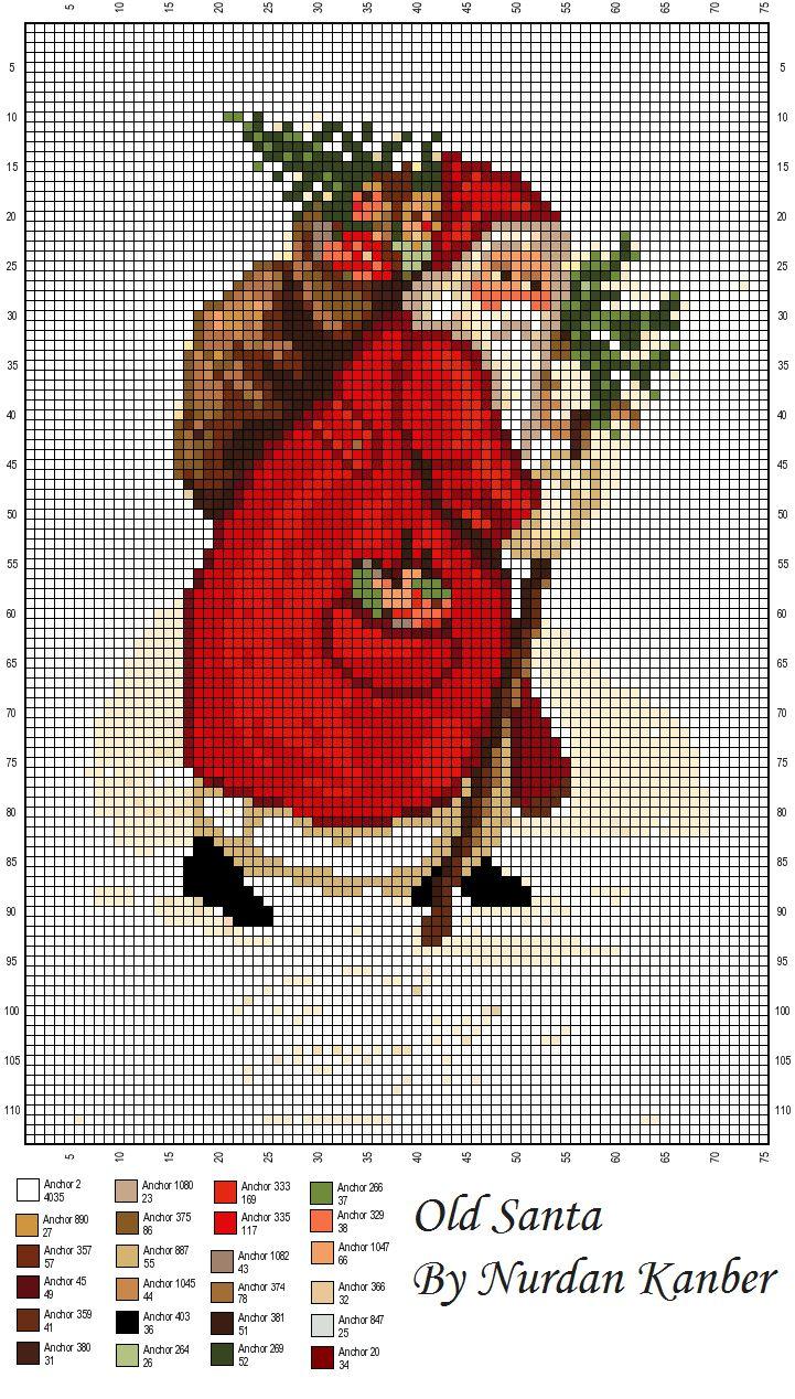 Nurdan' ın Yeri - A Cross Stitch Blog: Santas, Winter Stitching and Burlapping / Noel Babalar, Kış desenleri ve Çuvallamaca