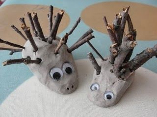 Clay and twig hedgehogs.