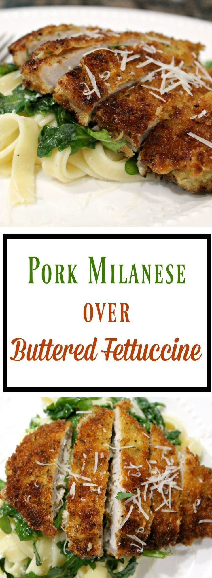 Pork Milanese Over Buttered Fettuccine - I ALWAYS ORDER SOMETHING LIKE THIS IN RESTAURANTS, IT'S SO EXCITING TO BE ABLE TO MAKE RESTAURANT QUALITY MEALS AT HOME, AND HOW EASY IT IS!