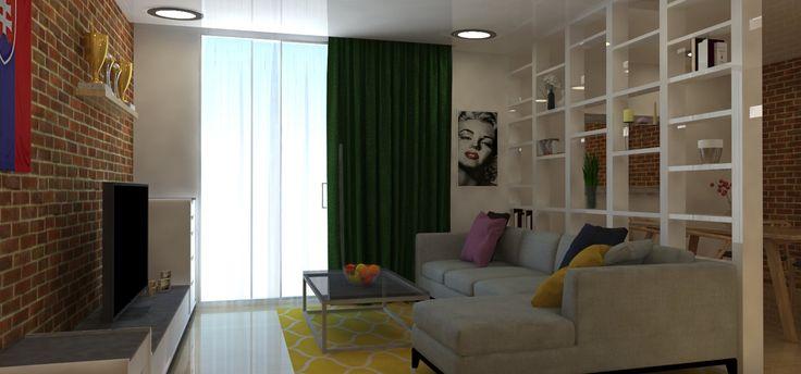 Predný pohľad na obývaciu izbu