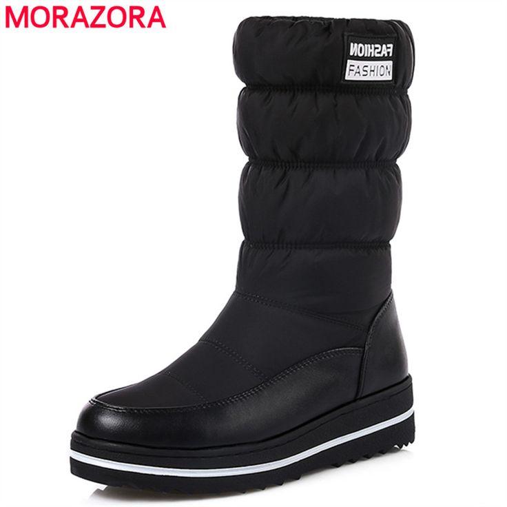 Morazora/Большие Размеры 35 44; новые зимние сапоги женская утепленная хлопковая обувь с подкладкой водонепроницаемые ботинки на платформе с мехом до середины икры сапоги черный купить на AliExpress