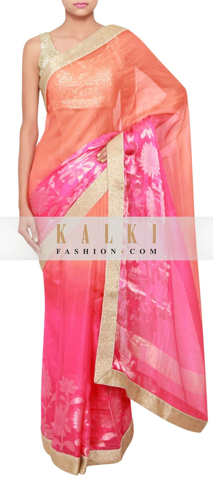 Buy Online from the link below. We ship worldwide (Free Shipping over US$100) http://www.kalkifashion.com/pink-and-orange-chanderi-silk-saree-embellished-in-kardana-work-only-on-kalki.html