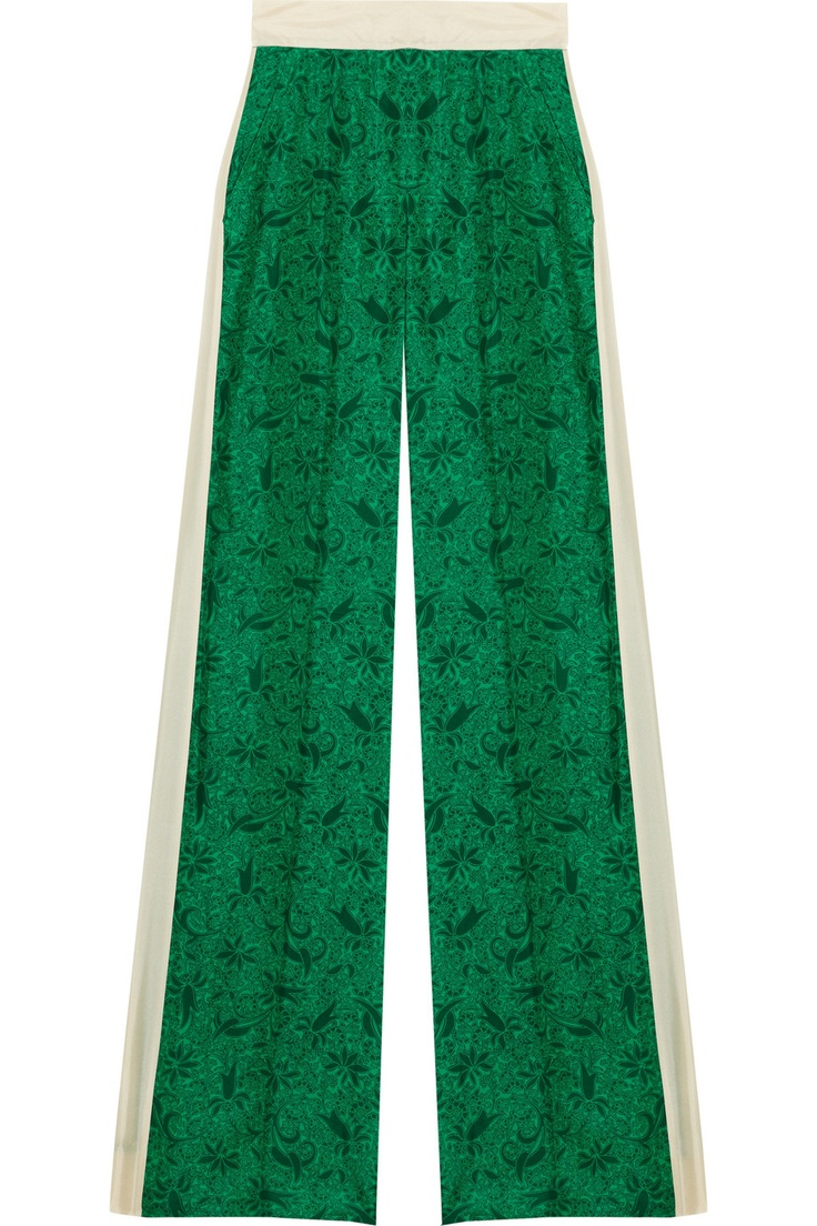 Emerald and cream silk-crepe wide-leg pants, relaxed weekend wear. Need them.  Malene Birger