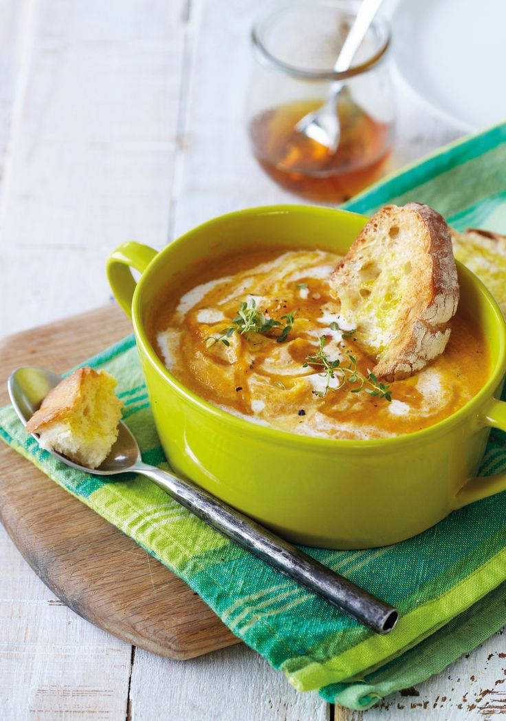 A delicious soup made from sweet potato and fresh carrots, drizzled with honey and served with piping hot bread. #Knorr