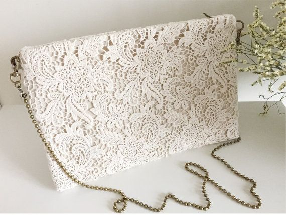 Handmade Shabby Chic Cotton Wedding Bag, Lace Bag, Cross Shoulder Bag, Vintage Style, Ivory/Off White, Make to Order, L002