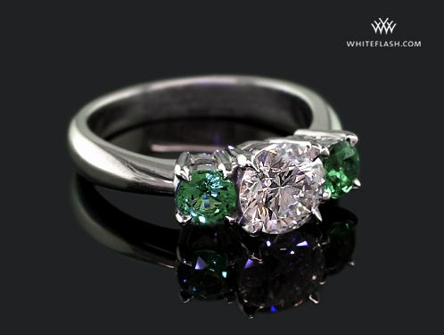 Diamond Solitaire With Emerald Side Stones Google Search