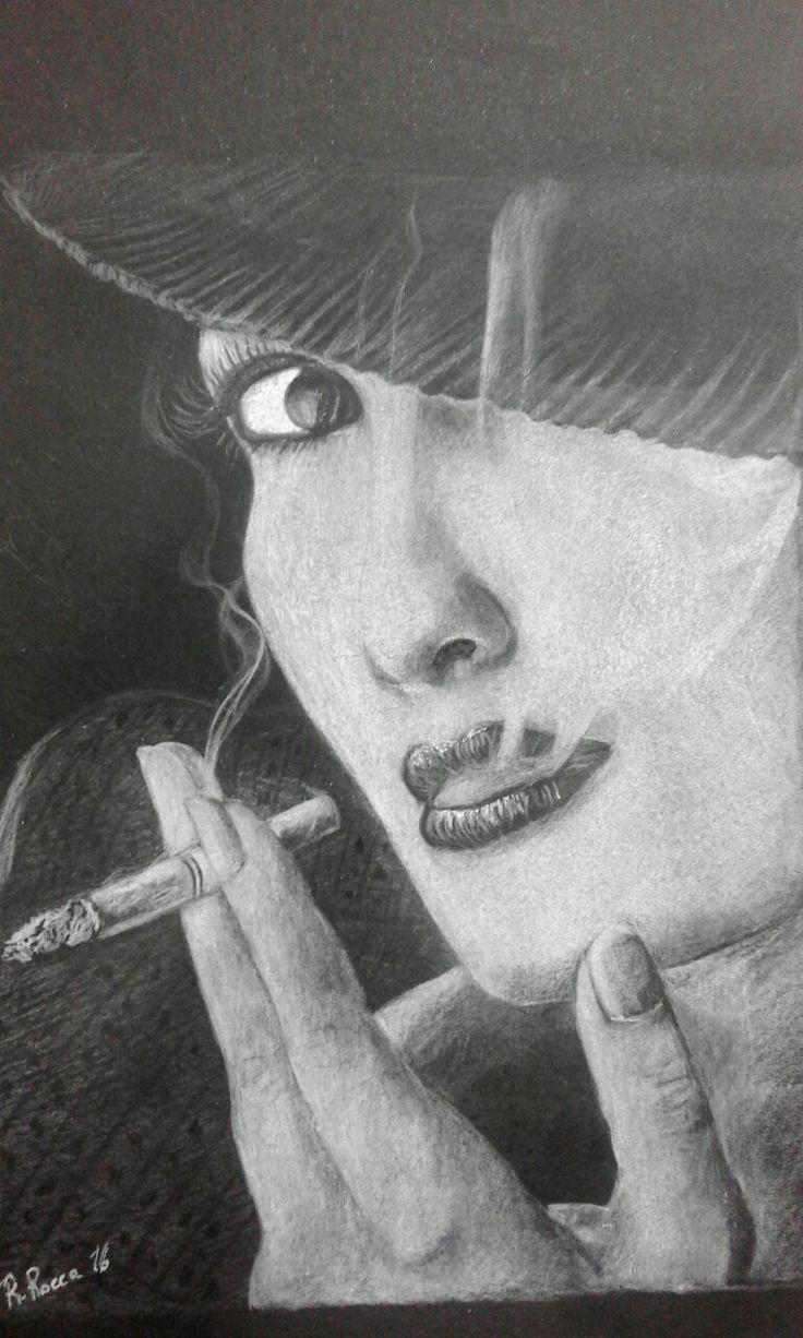 Fumo negli occhi... matita bianca su cartoncino nero