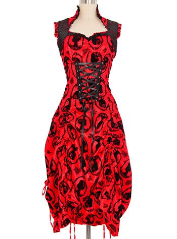 Dearly Departed Crimson Cameo Dress at PLASTICLAND