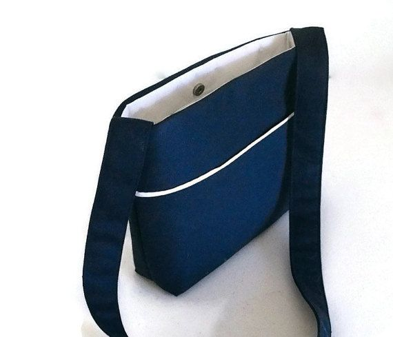 Navy Cross Body Bag  Herringbone Navy by BagsAndPursesbyBeth