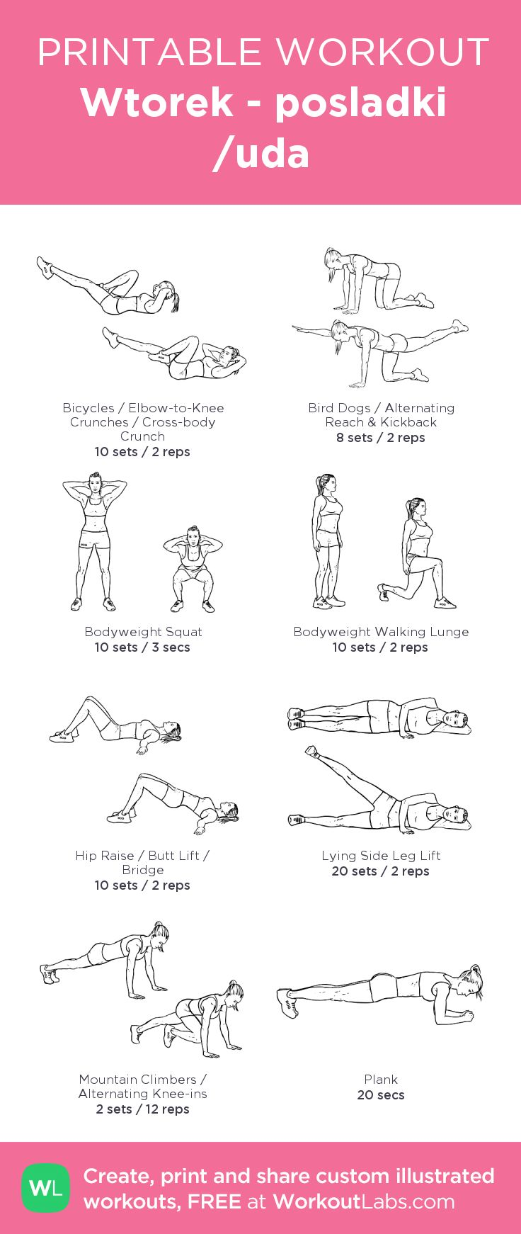 Wtorek - posladki /uda:my visual workout created at WorkoutLabs.com • Click through to customize and download as a FREE PDF! #customworkout