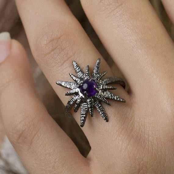 Αστέρι Ring, Φυσικό Μωβ Αμέθυστος, 925 ασημένιο δαχτυλίδι, Αποκοπή Cabochon, πολύτιμος λίθος δαχτυλίδι, Stackable δαχτυλίδι, Γύρος κομμένα 5 χιλιοστά, 18K Επίχρυσο