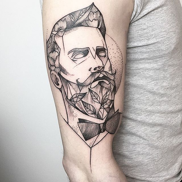 Gentleman Tattoo by María Fernández gentleman gentlemantattoo blackwork blackworktattoo linework lineworktattoo graphic graphictattoo blackink illustrative sketch MariaFernandez