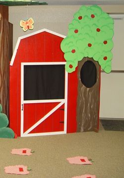 Our new puppet theater and apple mats for story time at Awana Cubbies