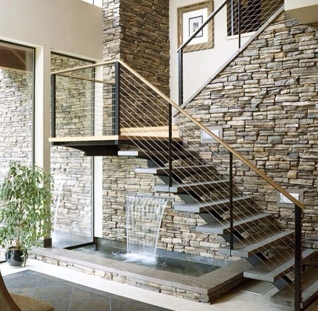Can never go wrong with a stone wall and glass