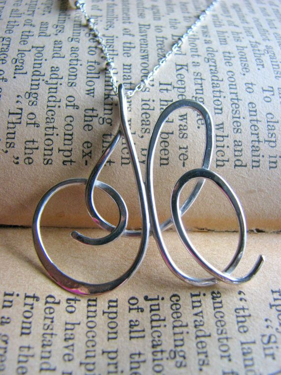 Bridal Two 2 Initial Necklace  Script Monogram by stacysdesigns88, $150.00
