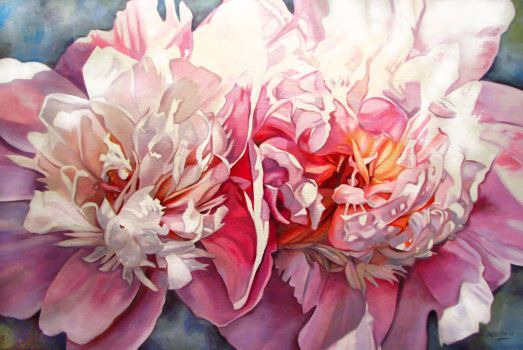 """Sherbet""  24""x36"" oil on canvas by Neiley Harris: I adore her peony paintings"