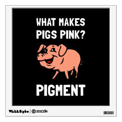 Pink Pigs Pigment Cartoon Joke Wall Decal - walldecals home decor cyo custom wall decals