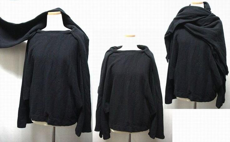 yohji yamamoto+NOIR 黒レイヤード立体マント型ニットセーター(three-dimensional layered knit)