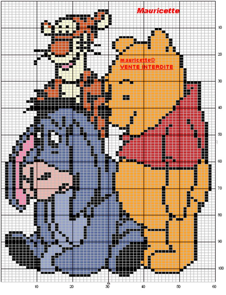 One Line Pixel Art : Winnietigroubouriquet dessin animé pinterest