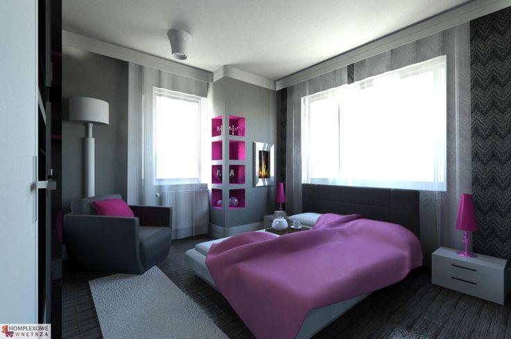 Aranżacja sypialni wystrój nowoczesny w kolorach biały, różowy, szary - projekt wnętrza o id 6635053 w Homplex.pl, Zestaw wyposażenia za 21618 zł ($6755)
