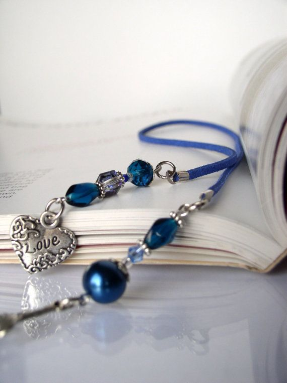 Segnalibro amore - contrassegno di libro a mano per libri - argento cuore amore fascino con perle blu, perline segnalibro, perizoma libro, regalo per lei