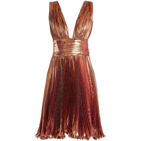 Maria Lucia Hohan Merida pleated lamé mini dress ($1,202) ❤ liked on Polyvore featuring dresses, rose gold, pleated cocktail dress, metallic cocktail dress, deep v neck cocktail dress, metallic dresses and metallic short dress