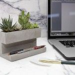 Personal Office Desk Accessories – Pen And Phone Stand – Kikkerland Concrete Planter and Pen Holder Green Plant Desk Accessory,