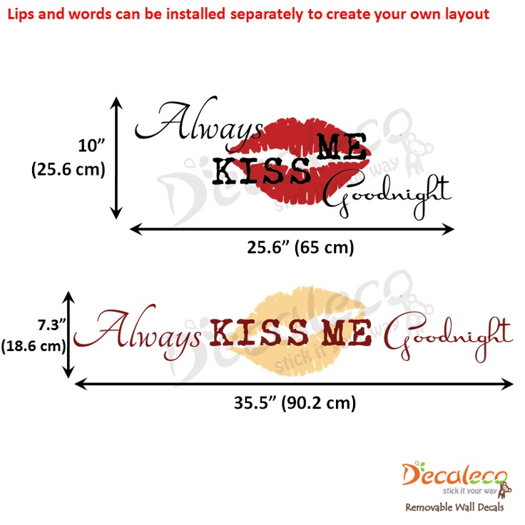 "Always Kiss Me Goodnight Wall Stickers with Sexy Lips - Always fall asleep after a tender kiss from your beloved one. This ""Always Kiss Me Goodnight"" wall quote with its big lips wall decal is very popular in Black and Dahlia Red. The wording and the lips can be installed separately to create your own layout. www.decaleco.com"