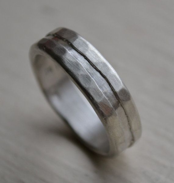 mens silver ring - rustic sterling silver ring - hand finished artisan designed silver wedding or engagement band - matte finish