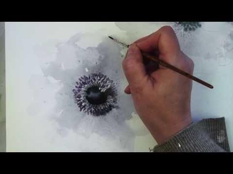 white anemones in watercolour - YouTube