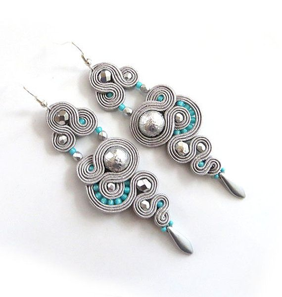 Silver grey earrings soutache mint earrings long by sutaszula