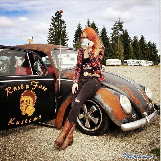 Badass VW beetle girl#Volkswagen bug # sexy girl # legs # sexy # boots ♠... XBrosApparel Vintage Motor T-shirts, VW Beetle & Bus T-shirts, Great price