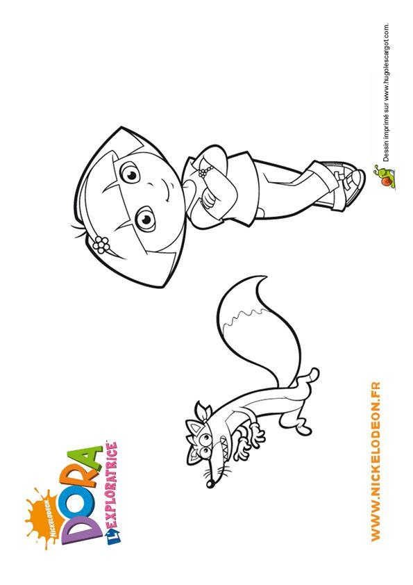 Coloriage de Dora avec Chipeur, le petit renard