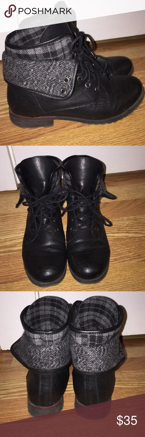 Black Moto Boots These boots are super cute and definitely in style!! They are in a great used condition and are super comfy and have a plaid inner that shoes when rolled down. Or they can be warm flipped up! Rock & Candy Shoes Combat & Moto Boots