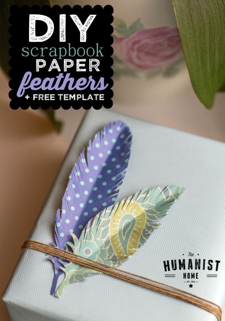 DIY Scrapbook Paper Feather Tutorial + Free Feather Template