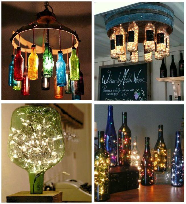 ideas para reciclar botellas de vidrio luces