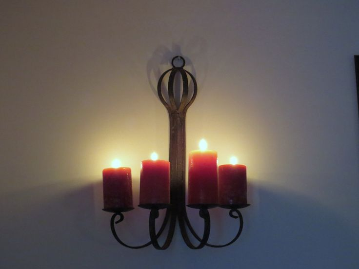 Rustic candle holder, rough metal wall decor, Gothic candles, medieval metal, wall sconce, mid century wall decor, castle candles, farmhouse by ChippedPaints on Etsy