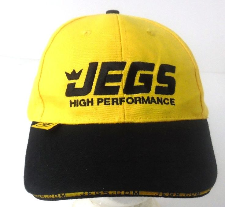 JEGS High Performance Auto Parts Yellow & Black Velcro Back Hat Ball Cap Hat
