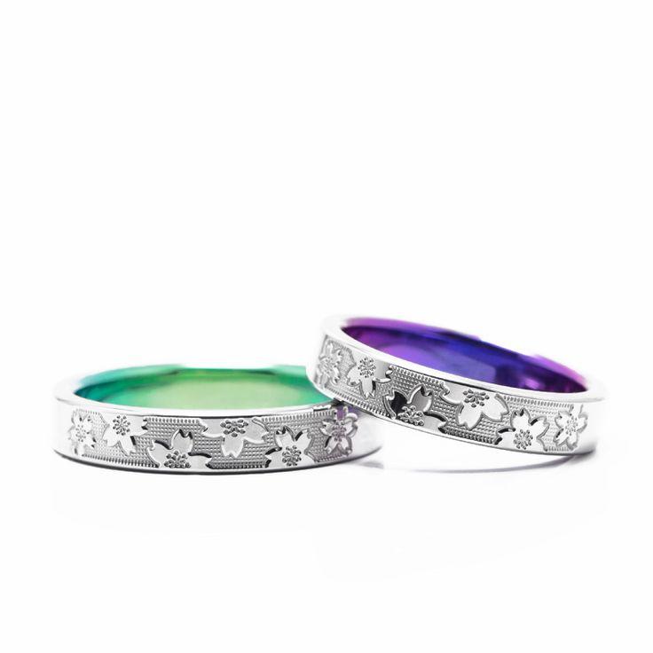【結婚指輪 山桜(やまざくら)】 長寿を祈った山桜がモチーフの結婚指輪。 桜の花が浮き上がった立体的なデザインです。素材:Ti(チタン)。