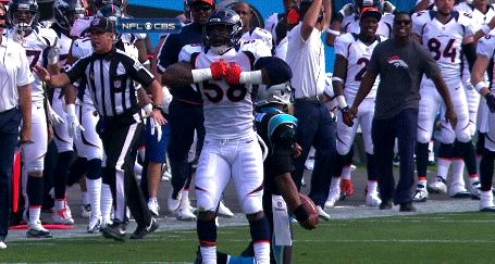 "Von Miller rips off Cam Newton's ""Superman"" after sacking him."