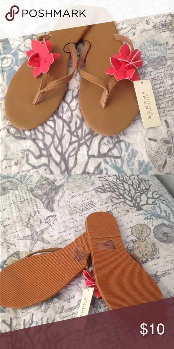 Sonoma dressy flip-flops NWT Sonoma Dressy Flip Flops, tan with cute coral colored flowers! Sonoma Shoes Sandals