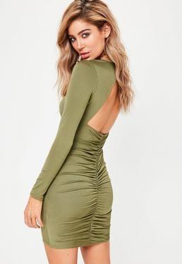 Khaki Slinky Ruched Back Mini Dress