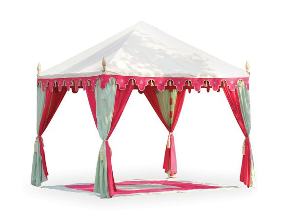 """Hot Pink Cabana: exotic cabana off-white canvas top pink pistachio green drapes hand block printed inner linings   dimensions: 10"""" x 10'"""