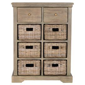 """Perfect for stowing outdoor accessories in the mudroom or books and DVDs in the den, this cottage-chic 2-drawer wood chest showcases 6 wicker storage baskets and a rustic grey finish.     Product: ChestConstruction Material: Wood and wickerColor: Rustic greyFeatures: Two drawersSix removable baskets Dimensions: 34"""" H x 26"""" W x 15"""" DCleaning and Care: Clean with a dry, lint-free cloth"""