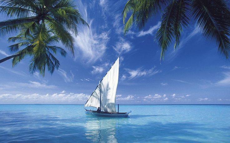 Sail Boat in Blue Sea Wallpaper For Desktop Free Download