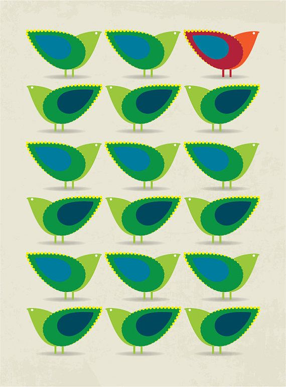 Mid-century design inspired birds illustration by Peanutoak Print (via Etsy).
