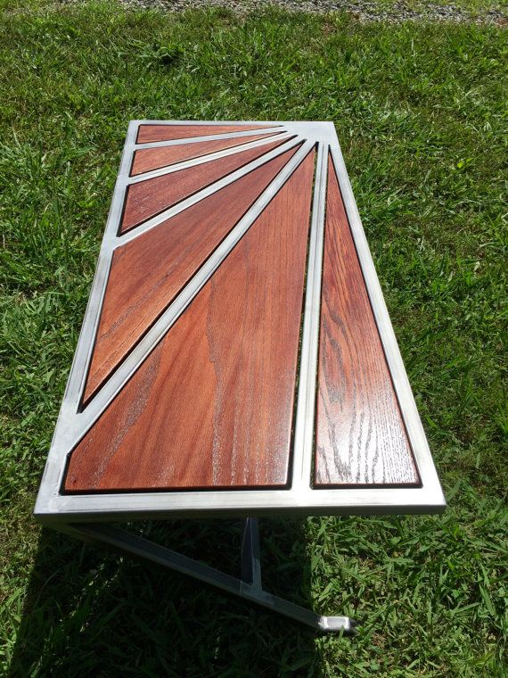 Custom Red Oak Coffee Table by AyersIronWorks on Etsy