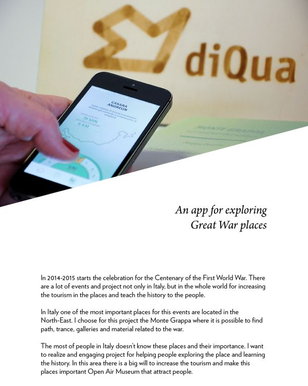 diQua, exploring Great War with iBeacon technology by Stella Morelli, via Behance