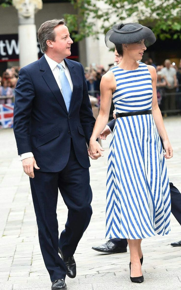Current,  At The Time, Prime Minister David Cameron & Wife Samantha Cameron At The Queen's 90th Birthday Service Of Thanksgiving, June 10, 2016. Heaven Forebid Sleeveless At A Cathedral In The Queen's Prescene.